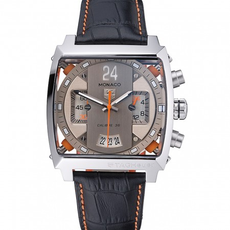 Tag Heuer Monaco 24 Calibre 36 Chronograph Gold And Beige Dial Black Leather Strap 622274
