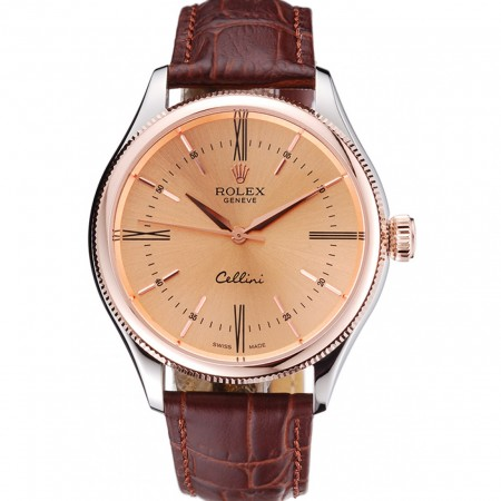 Rolex Cellini Gold Dial And Bezel Stainless Steel Case Brown Leather Strap 622840