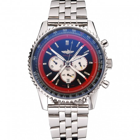 Breitling Certifie Polished Silver Stainless Steel Strap Black Dial Chronograph 80173