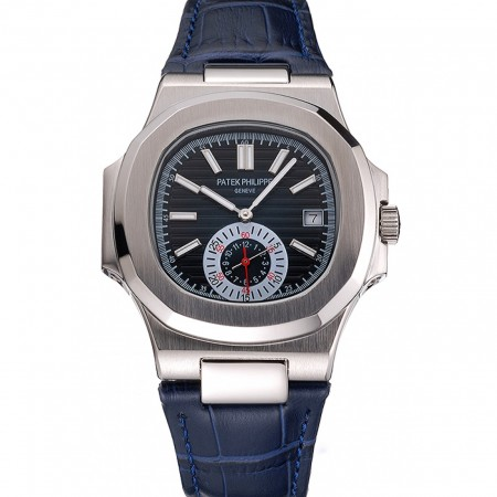 Patek Philippe Nautilus Blue Dial Stainless Steel Case Blue Leather Strap