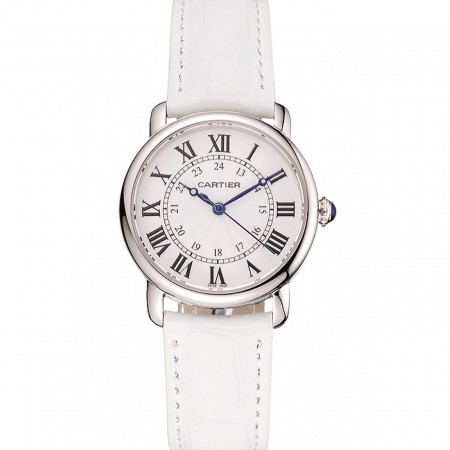 Cartier Ronde White Dial Stainless Steel Case White Leather Strap