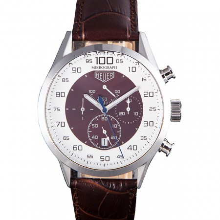 Tag Heuer Carrera Mikrograph Limited Edition Brown Leather Strap 7916