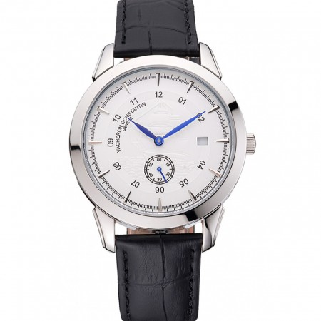 Vacheron Constantin Traditionnelle White Ship Dial Stainless Steel Case Black Leather Strap