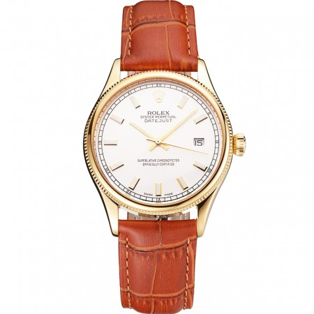 Swiss Rolex Datejust White Dial Gold Case Light Brown Leather Strap