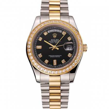Swiss Rolex Day-Date Black Dial Gold Diamond Case Two Tone Stainless Steel Bracelet 1453976