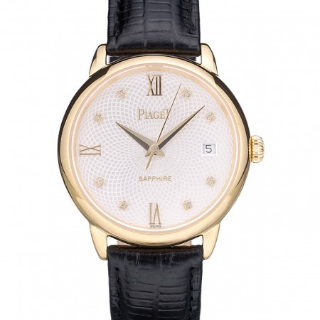 Piaget Swiss Traditional White Radial Pattern Dial Black Leather Strap 7635