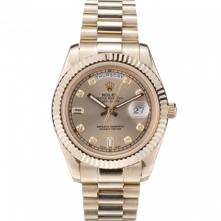 Rolex Swiss DayDate Gold Stainless Steel Ribbed Bezel Gold Dial 41997