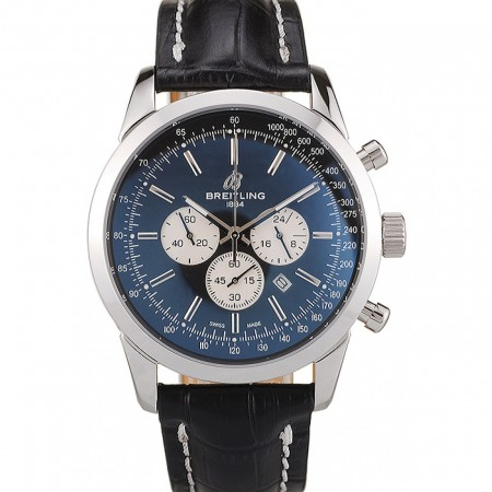 Breitling Transocean Black Dial Black Leather Strap Polished Stainless Steel Bezel