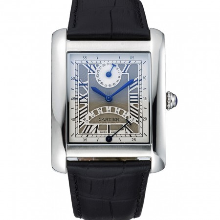 Cartier Tank White Dial Stainless Steel Case Black Leather Strap 622761