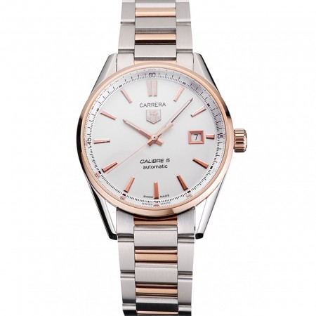 Swiss Tag Heuer Carrera Calibre 5 White Dial Rose Gold Case Two Tone Bracelet