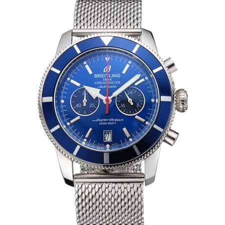 Breitling Superocean Heritage Chronographe 44 Blue Dial And Bezel Stainless Steel Case And Bracelet