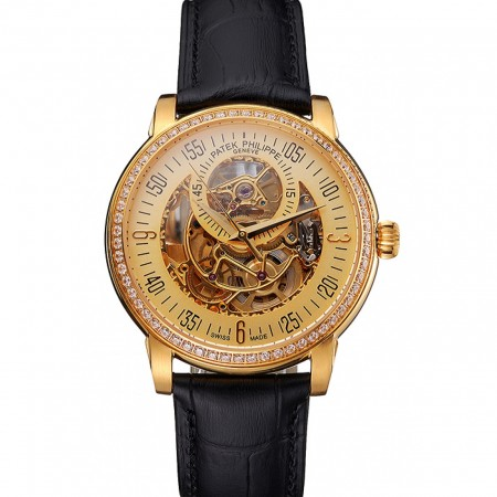 Swiss Patek Philippe Complications Openworked Dial Gold Case Diamond Bezel Black Leather Strap