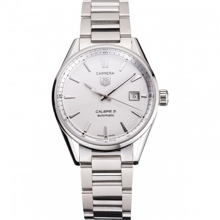 Swiss Tag Heuer Carrera Calibre 5 Silver Dial Stainless Steel Case And Bracelet