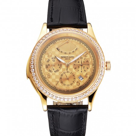 Swiss Patek Philippe Grand Complications Power Reserve Gold Dial And Case Diamond Bezel Black Leather Strap