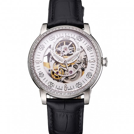 Swiss Patek Philippe Complications Openworked Dial Diamond Bezel Stainless Steel Case Black Leather Strap