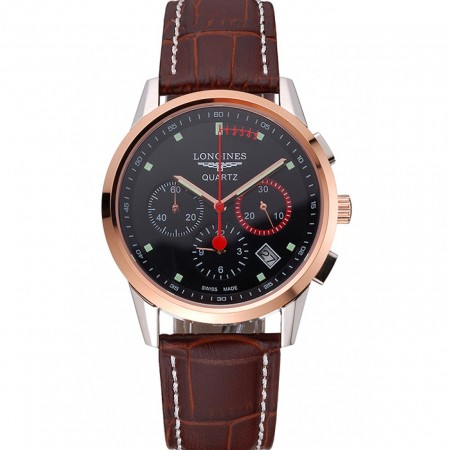 Longines Column Wheel Black Dial Two Tone Case Brown Leather Strap