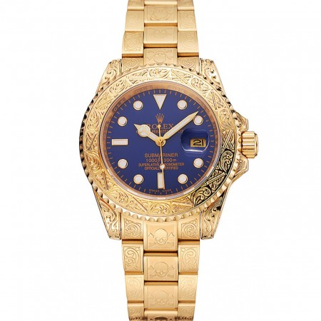Swiss Rolex Submariner Skull Limited Edition Blue Dial Gold Case And Bracelet 1454089
