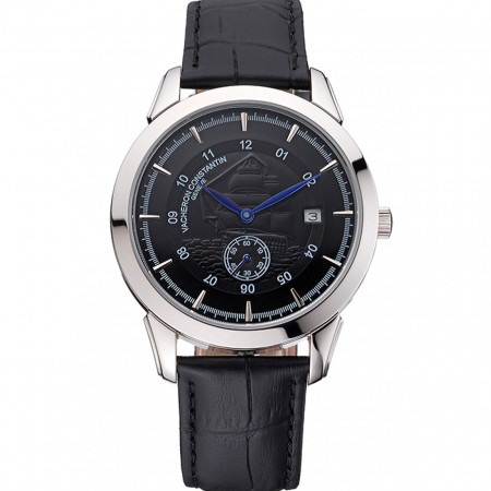 Vacheron Constantin Traditionnelle Black Ship Dial Stainless Steel Case Black Leather Strap