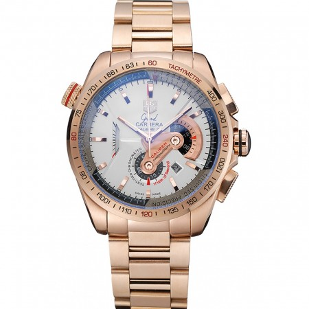 Tag Heuer Carrera Rose Gold Case White Dial