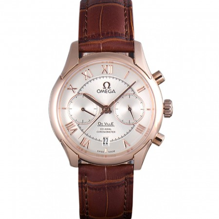 Omega DeVille Rose Gold Bezel with White Dial and Brown Leather Strap 621570