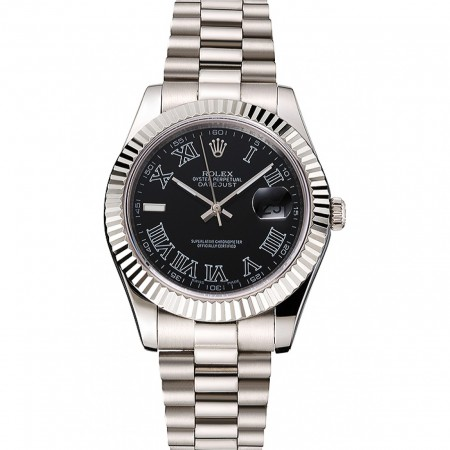 Swiss Rolex Datejust Black Dial Roman Numerals Stainless Steel Case And Bracelet
