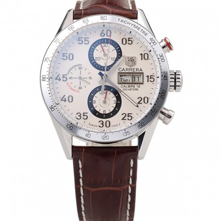 Tag Heuer Swiss Carrera Tachymeter Bezel Dark Brown Leather Strap White Dial
