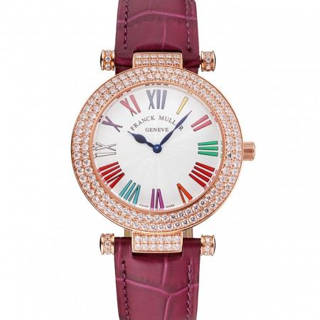 Franck Muller Double Mistery Ronde White Dial Rose Gold Case Plum Leather Strap