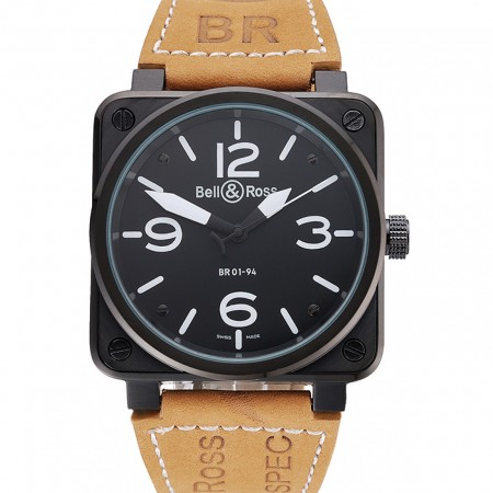 Bell and Ross BR 01-94 Black Dial Black Case Brown Leather Strap