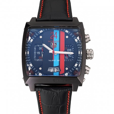 Tag Heuer Monaco Calibre 36 Blue And Red Dial Stripes Dial Black Leather Strap 622272