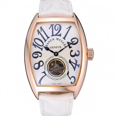 Franck Muller Casablanca White Croco Leather Strap White Dial 80283