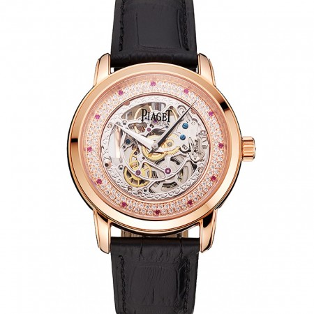 Swiss Piaget Altiplano Skeleton Dial With Diamonds Rose Gold Case Black Leather Strap