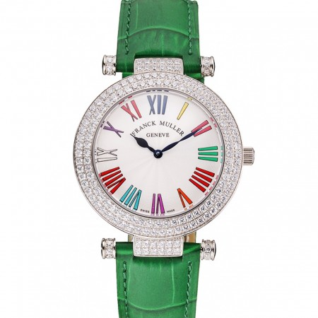 Franck Muller Double Mistery Ronde White Dial Stainless Steel Case Green Leather Strap