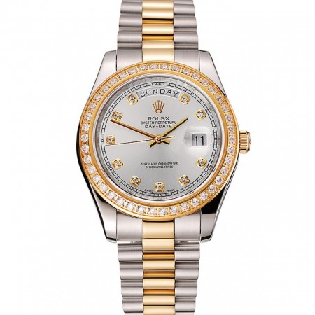 Swiss Rolex Day-Date White Dial Gold Diamond Case Two Tone Stainless Steel Bracelet 1453971