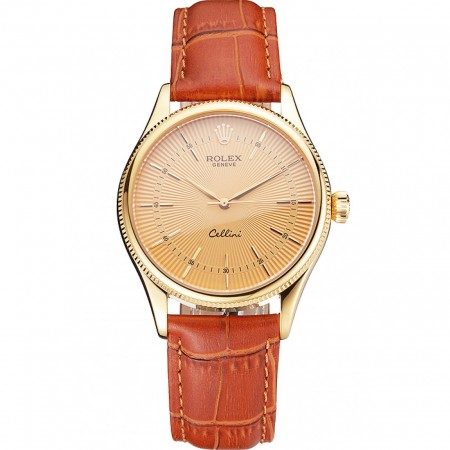 Swiss Rolex Cellini Gold Dial And Markings Gold Case Light Brown Leather Strap