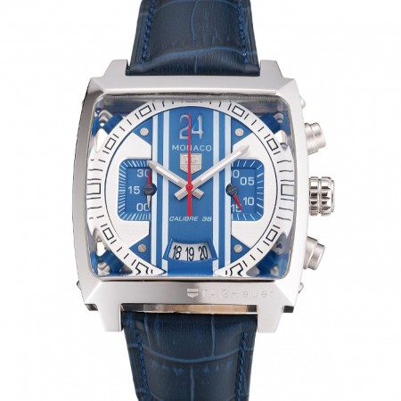Tag Heuer Monaco 24 Calibre 36 Chronograph Blue And Grey Stripes Dial Blue Leather Strap 622273