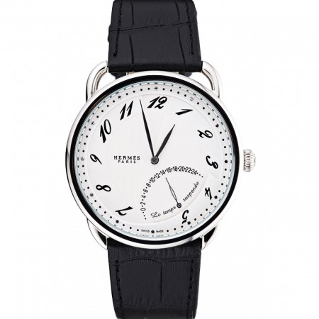 Hermes Classic Croco Leather Strap White Dial 801403