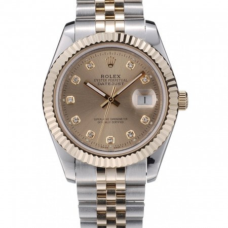 Rolex DateJust Gold Stainless Steel Ribbed Bezel Goldish Dial 41978