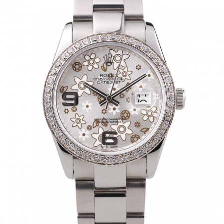 Rolex Datejust Stainless Steel Silver Flowers Dial Diamond Plated rl305
