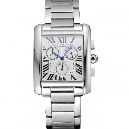 Cartier Tank MC White Dial Stainless Steel Case And Bracelet 622697