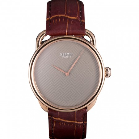 Hermes Classic Croco Leather Strap Silver Dial 801395