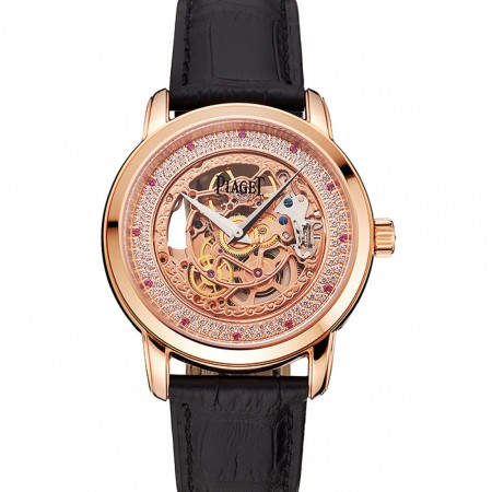 Swiss Piaget Altiplano Rose Gold Skeleton Dial With Diamonds Rose Gold Case Black Leather Strap