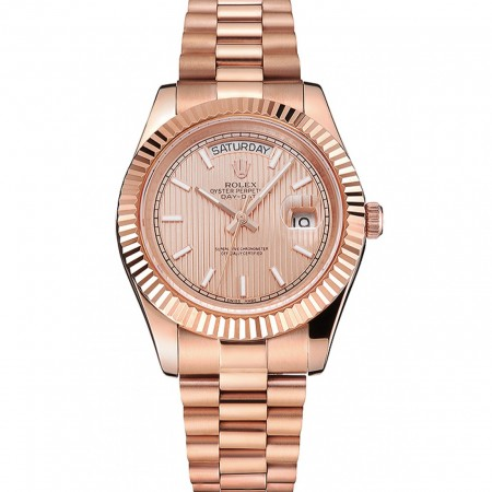 Swiss Rolex Day Date 40 Rose Gold Etched Dial Rose Gold Case And Bracelet