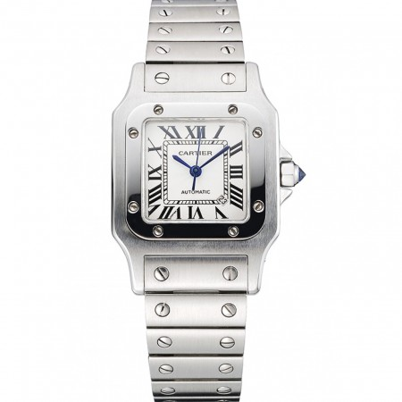 Swiss Cartier Santos White Dial Stainless Steel Case And Bracelet 622882