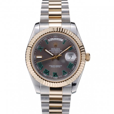 Rolex Swiss DayDate Gold Stainless Steel Ribbed Bezel Grey Dial 41909