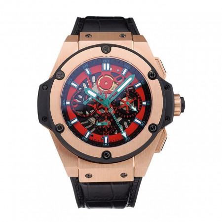 Swiss Hublot Big Bang Limited Edition Black And Red Dial Gold Case Black Leather Strap 62289