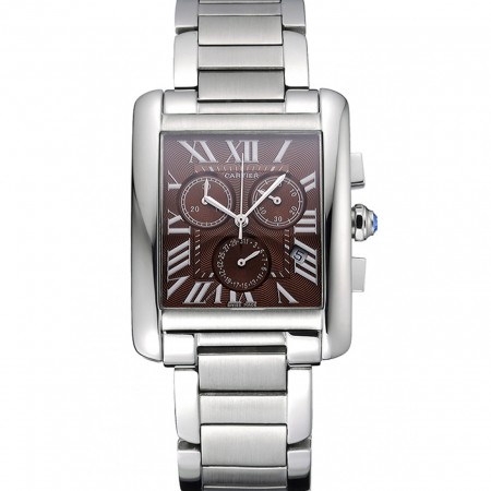 Cartier Tank MC Brown Dial Stainless Steel Case And Bracelet 622699