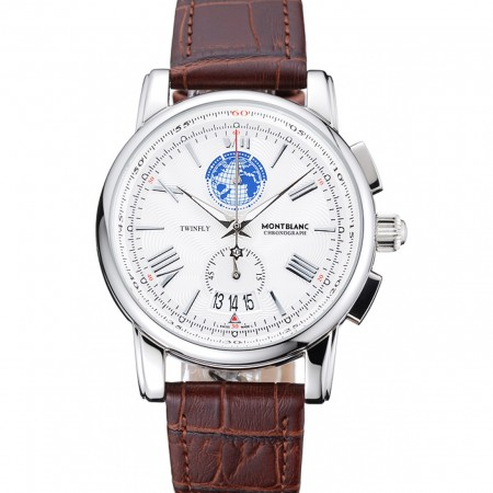 Montblanc Twinfly Chronograph White Dial Brown Leather Bracelet 1454117