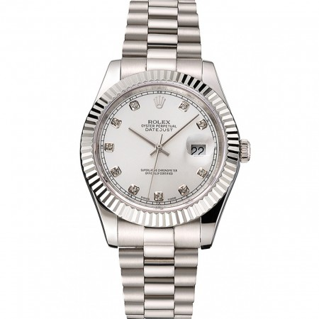 Swiss Rolex Datejust Silver Dial Stainless Steel Case And Bracelet