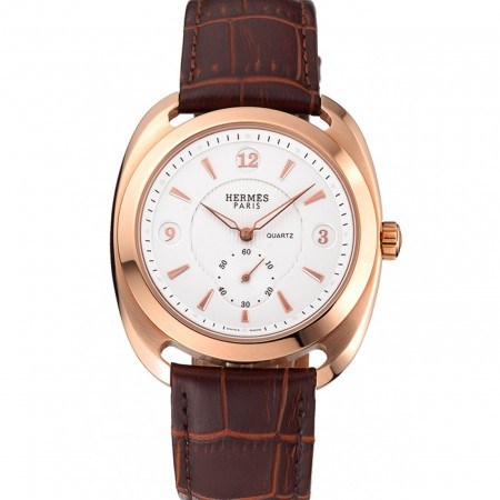 Hermes Dressage White Dial Rose Gold Case Brown Leather Strap