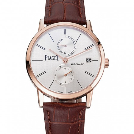 Piaget Altiplano Date Silver Dial Rose Gold Case Brown Leather Strap